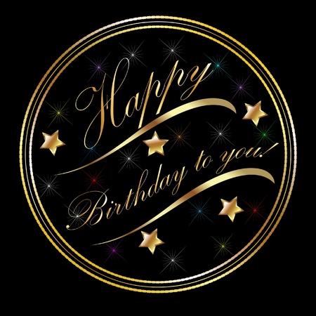 Heureux anniversaire carte d'or Banque d'images - 12805982