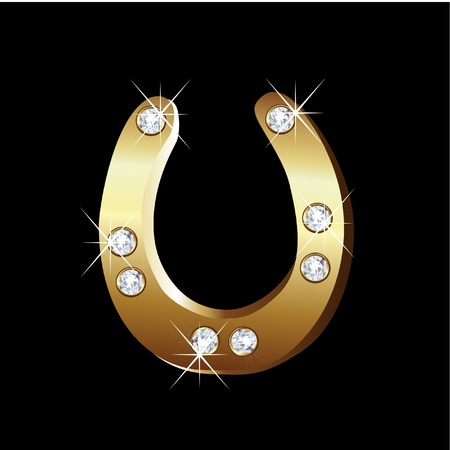 bling bling: Gold horseshoe icon vector
