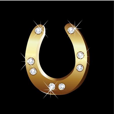 herradura: Vector de Oro icono de herradura