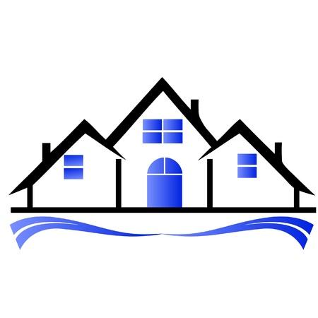 logotipo de construccion: Casas logotipo de bienes inmuebles