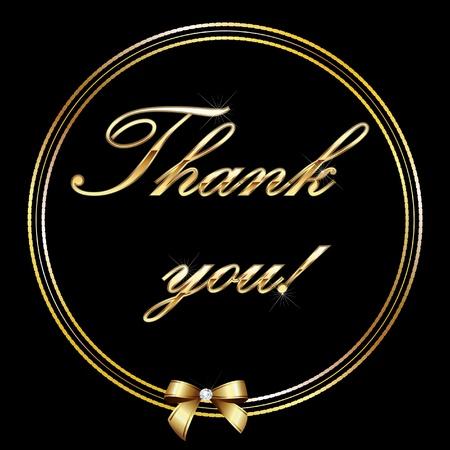 te negro: Gracias tarjeta de la carta de oro