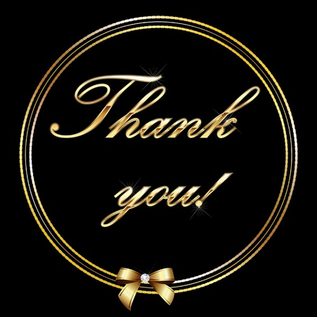 Thank you gold letter card Vector