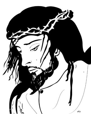 corona de espinas: Retrato de Jesús Cristo en el sufrimiento y la agonía del Viernes Santo Vectores