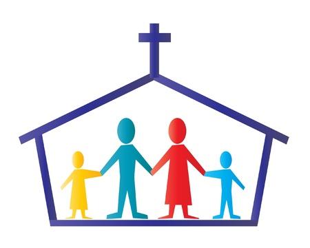 Ikone der Kirche mit Kreuz und die Gläubigen