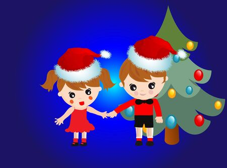 Kids with Santa Claus hats and Christmas tree Stock Vector - 12907344
