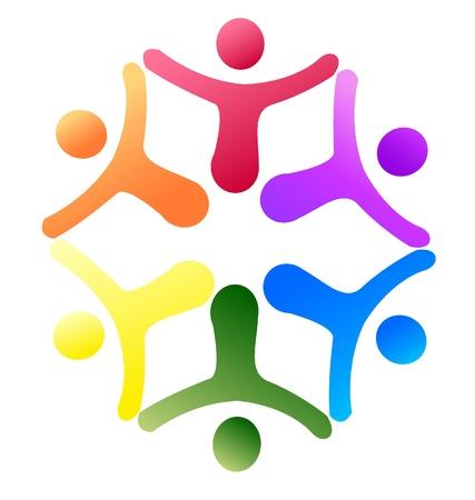 harmony united: Teamwork support logo Illustration