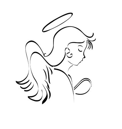 Angel praying to god logo Vector