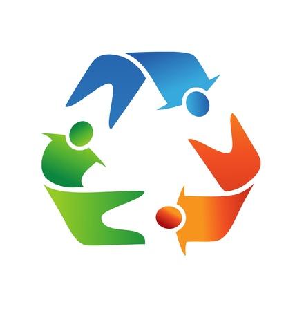 logo reciclaje: El trabajo en equipo de reciclaje logotipo