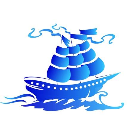 Sail ship logo Vector