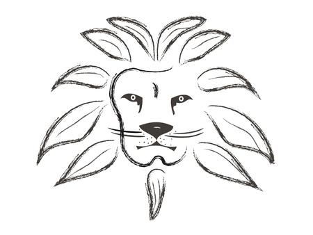 Lion gezicht beschilderd met slagen Stock Illustratie