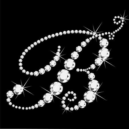 saffier: B cursieve letter met diamanten Stock Illustratie