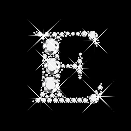 E letter with diamonds bling bling 版權商用圖片 - 12982286