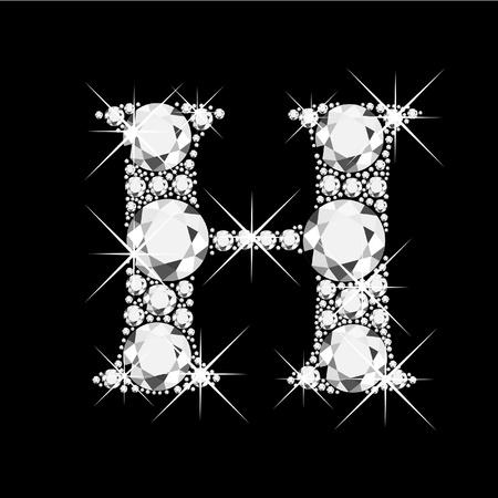 diamond letter: H letter with diamonds bling bling
