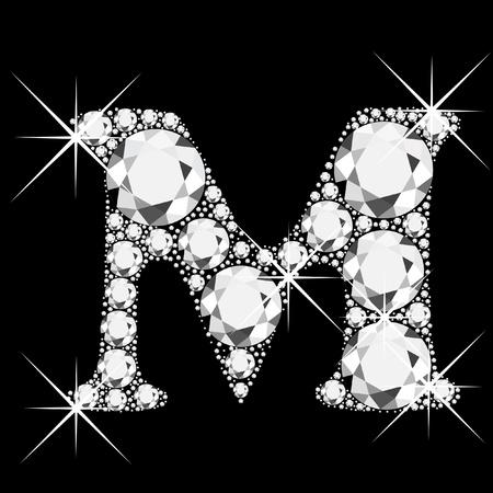 bling bling: M Brief mit Diamanten bling bling Illustration