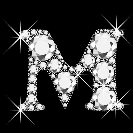 bling bling: M letter with diamonds bling bling Illustration