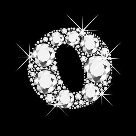 Lettera O con diamanti bling bling Vettoriali