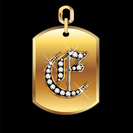 E medal in gold and diamonds  Vector