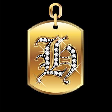 joyas de oro: H medalla en oro y diamantes