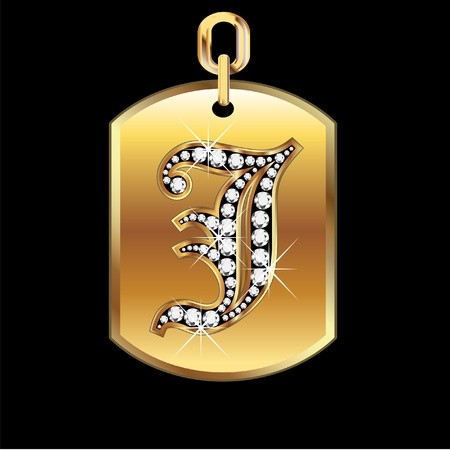 gold star: J medal in gold and diamonds