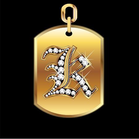 joyas de oro: K medalla en oro y diamantes Vectores