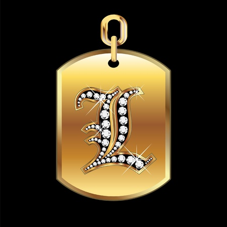 jewerly: L medal in gold and diamonds