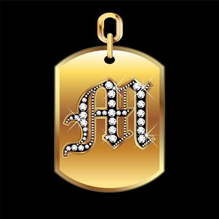 joyas de oro: M la medalla de oro y diamantes