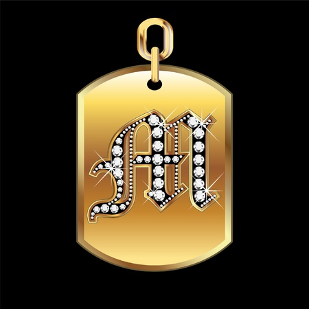 gold frame: M medal in gold and diamonds