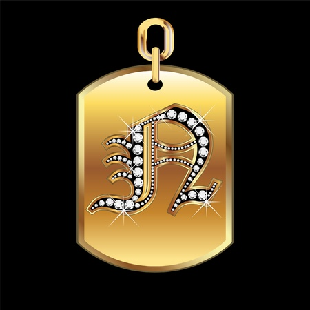 jewerly: N medal in gold and diamonds
