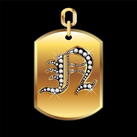 joyas de oro: N medalla en oro y diamantes