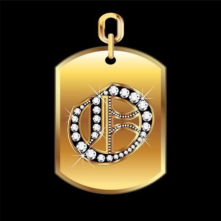 O medal in gold and diamonds  Ilustração