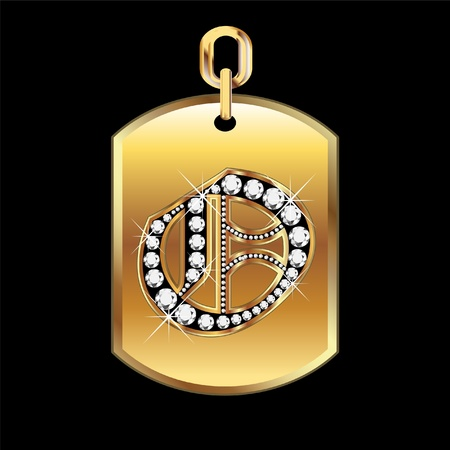 gold star: O medal in gold and diamonds  Illustration