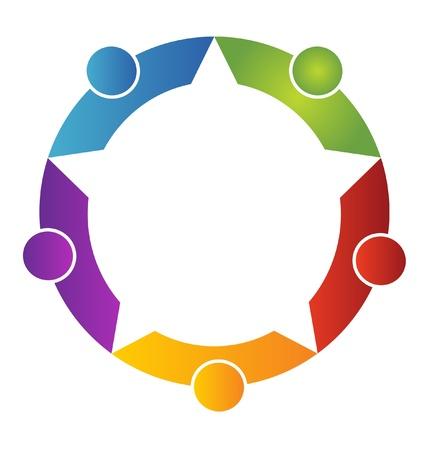 Le travail d'équipe cinq logo peuples Illustration
