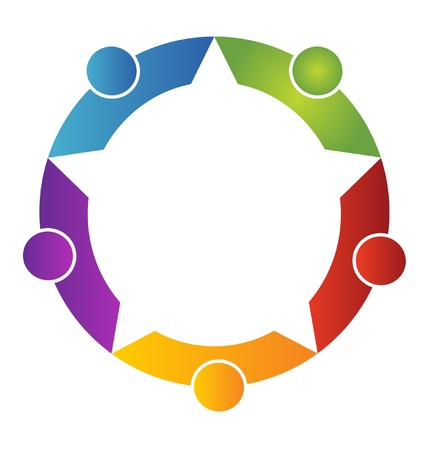 conceptual symbol: Teamwork five peoples logo
