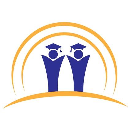 Graduates teamwork logo Vector