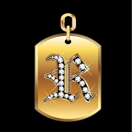 joyas de oro: R medalla en oro y diamantes