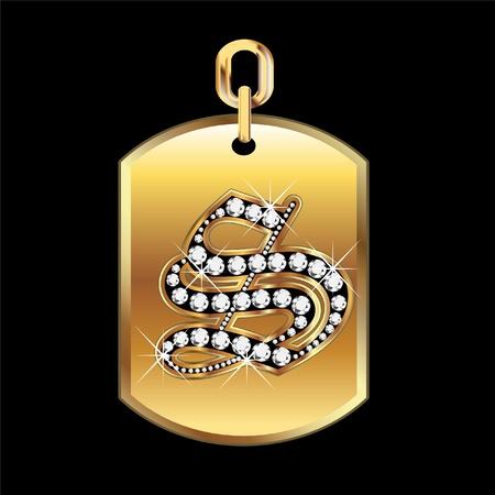 joyas de oro: S medalla en oro y diamantes