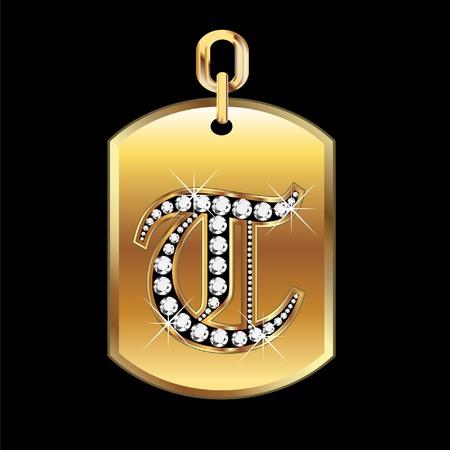 T medal in gold and diamonds  Ilustração