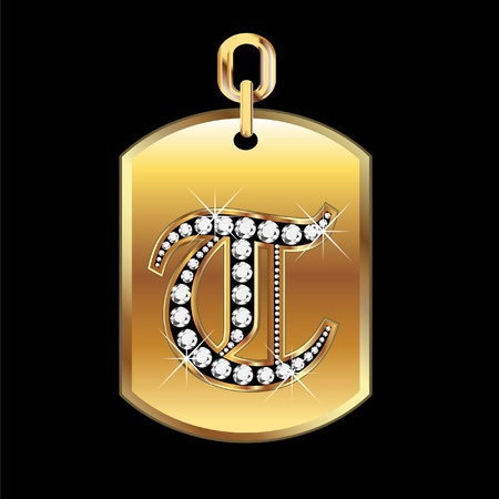 joyas de oro: T medalla en oro y diamantes