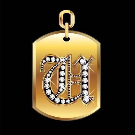 gold star: U medal in gold and diamonds