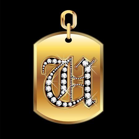 joyas de oro: U medalla en oro y diamantes Vectores