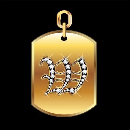 joyas de oro: W medalla en oro y diamantes