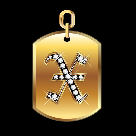 joyas de oro: X medalla en oro y diamantes