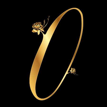 Golden number 0 with roses Vector