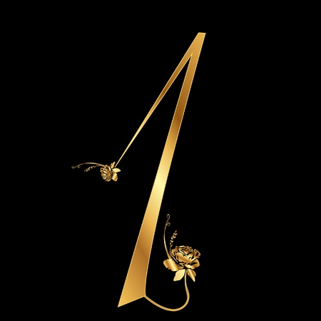 Golden number 1 with roses Vector