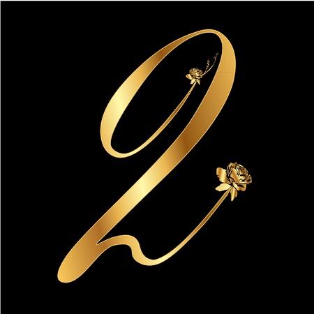 Golden number 2 with roses Illustration