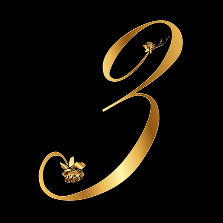 Golden number 3 with roses Vector