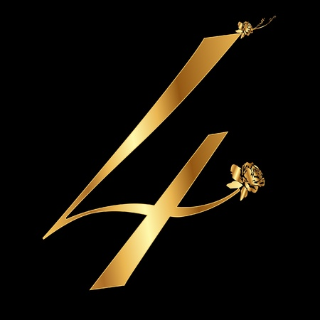 Golden number 4 with roses Vector