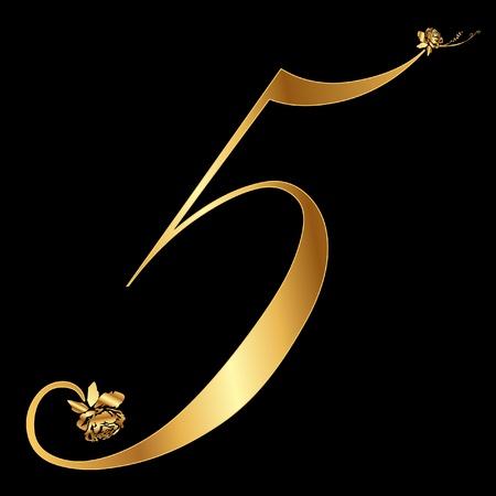 Golden number 5 with roses Reklamní fotografie - 12982386
