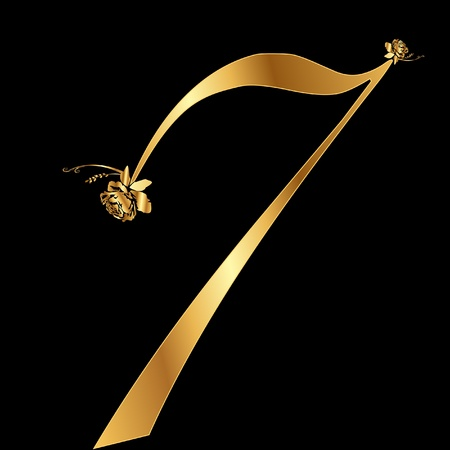 Golden  number 7 with roses Vector