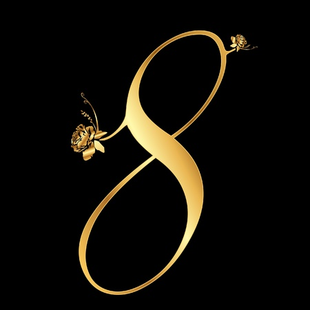Golden number 8 with roses Vector